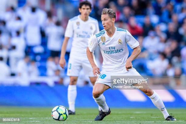 Marcos Llorente of Real Madrid in action during the La Liga 201718 match between Real Madrid and CD Leganes at Estadio Santiago Bernabeu on April 28...