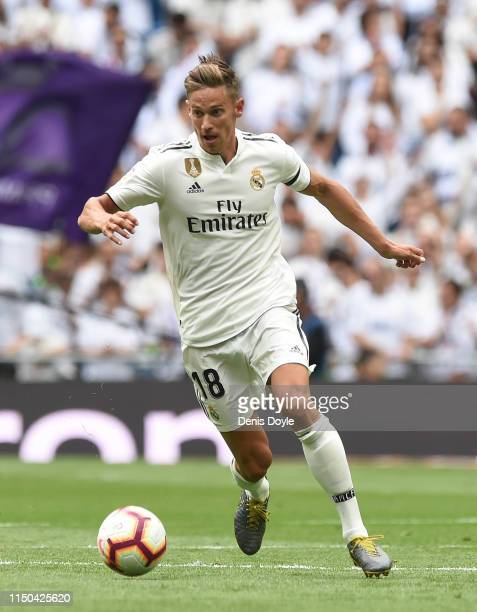 Marcos Llorente of Real Madrid in action during the La Liga match between Real Madrid CF and Real Betis Balompie at Estadio Santiago Bernabeu on May...