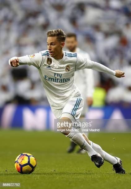 Marcos Llorente of Real Madrid in action during the La Liga match between Real Madrid and Sevilla at Estadio Santiago Bernabeu on December 9 2017 in...