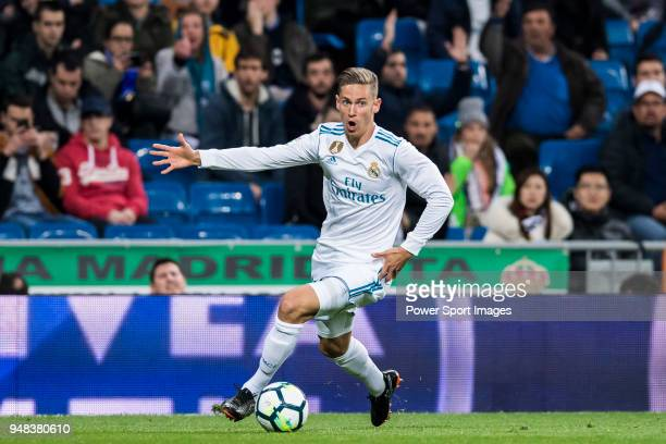 Marcos Llorente of Real Madrid in action during the La Liga match between Real Madrid and Getafe at Estadio Santiago Bernabeu on March 3 2018 in...
