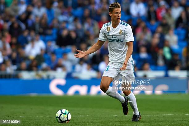 Marcos Llorente of Real Madrid in action during the La Liga match between Real Madrid and Leganes at Estadio Santiago Bernabeu on April 28 2018 in...