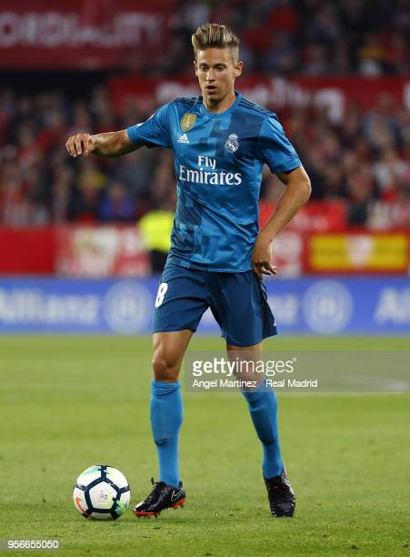 Marcos Llorente of Real Madrid in action during the La Liga match between Sevilla and Real Madrid at Estadio Ramon SanchezPizjuan on May 9 2018 in...