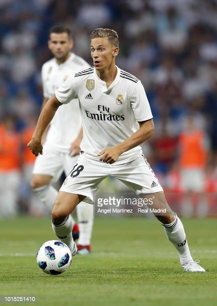 Marcos Llorente of Real Madrid in action during the Trofeo Santiago Bernabeu match between Real Madrid and AC Milan at Estadio Santiago Bernabeu on...