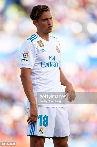 Marcos Llorente of Real Madrid looks on during the La Liga match between Getafe and Real Madrid at Estadio Coliseum Alfonso Perez on October 14 2017...