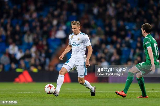 Marcos Llorente of Real Madrid looks to bring the ball down during La Copa del Rey 201718 match between Real Madrid vs CD Leganes at Estadio Santiago...