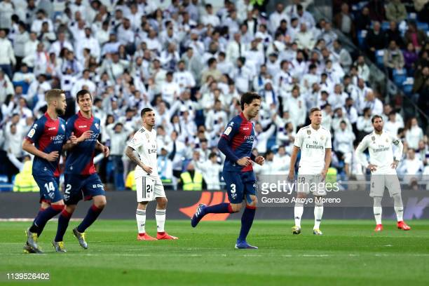 Marcos Llorente of Real Madrid reacts after Huesca score their first goal during the La Liga match between Real Madrid CF and SD Huesca at Estadio...