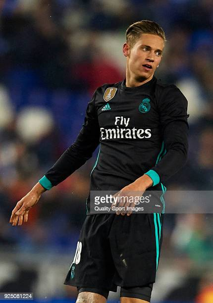Marcos Llorente of Real Madrid reacts during the La Liga match between Espanyol and Real Madrid at Estadio de CornellaEl Prat on February 27 2018 in...