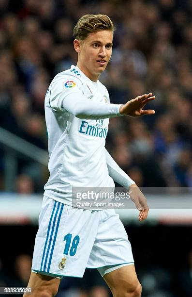 Marcos Llorente of Real Madrid reacts during the La Liga match between Real Madrid and Sevilla at Estadio Santiago Bernabeu on December 9 2017 in...