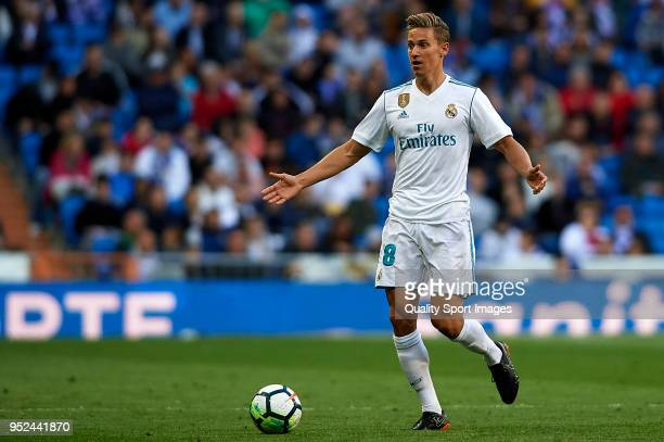 Marcos Llorente of Real Madrid reacts during the La Liga match between Real Madrid and Leganes at Estadio Santiago Bernabeu on April 28 2018 in...
