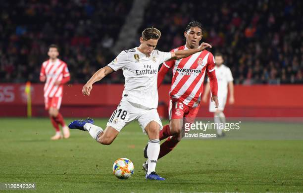 Marcos Llorente of Real Madrid scores to make it 31 during the Copa del Quarter Final match between Girona and Real Madrid at Montilivi Stadium on...