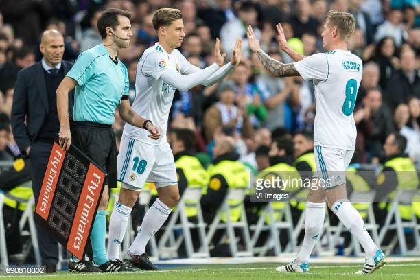 Marcos Llorente of Real Madrid Toni Kroos of Real Madrid during the La Liga Santander match between Real Madrid CF and Sevilla FC on December 09 2017...