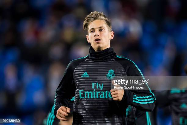Marcos Llorente of Real Madrid warms up prior to the Copa del Rey 201718 match between CD Leganes and Real Madrid at Estadio Municipal Butarque on 18...
