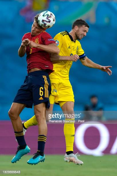 Marcos Llorente of Spain competes for a header with Marcus Berg of Sweden during the UEFA Euro 2020 Championship Group E match between Spain and...