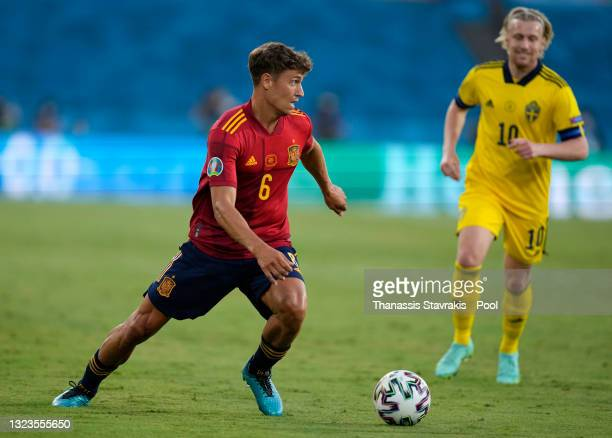 Marcos Llorente of Spain runs with the ball during the UEFA Euro 2020 Championship Group E match between Spain and Sweden at the La Cartuja Stadium...