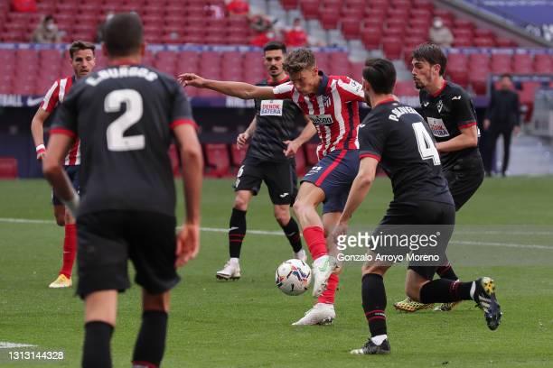 Marcos Llorente scores their fifth goal during the La Liga Santander match between Atletico de Madrid and SD Eibar at Estadio Wanda Metropolitano on...