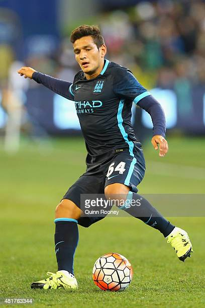 Marcos Lopes of Manchester City kicks during the International Champions Cup match between Real Madrid and Manchester City at Melbourne Cricket...
