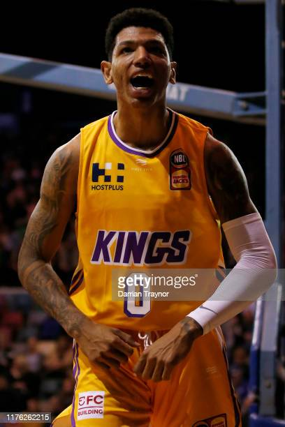 Marcos Louzada Silva of the Kings reacts during the NBL Blitz pre-season match between Perth Wildcats and Sydney Kinds at Derwent Entertainment...