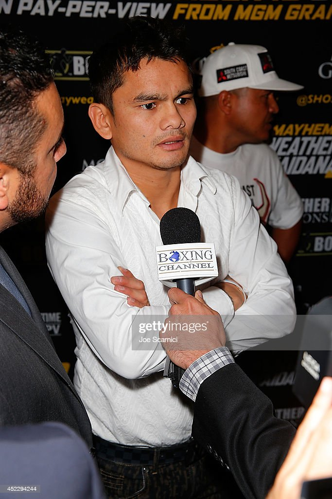 Marcos Maidana speaks to the press during a news conference at the Biltmore Hotel in Downtown Los Angeles on July 17, 2014 in Los Angeles, California.