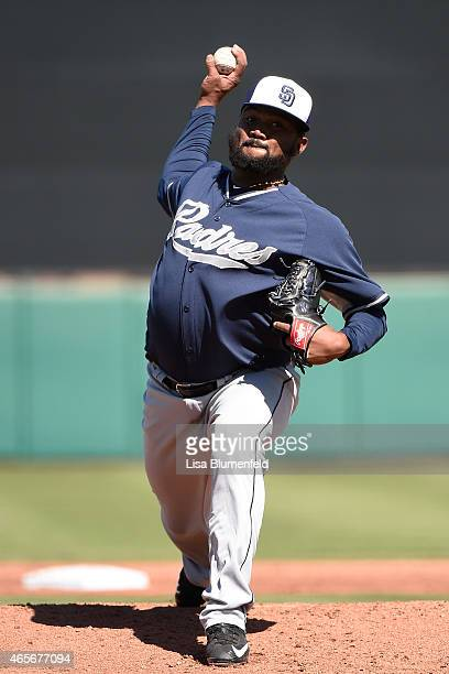 Marcos Mateo of the San Diego Padres pitches against the San Francisco Giants on March 7, 2015 in Scottsdale, Arizona.