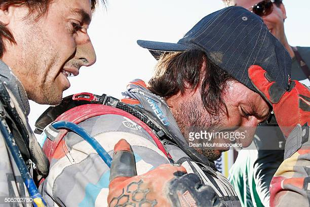 Marcos Patronelli of Argentina riding on and for YAMAHA WATRICICLO YAMAHA RACING shows his emotion and starts to cry afer winning the overall race...