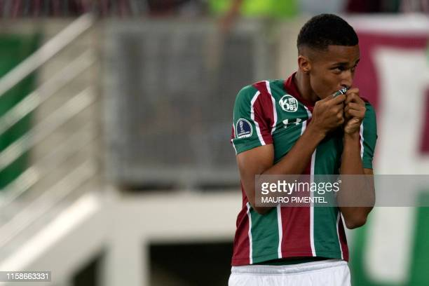 Marcos Paulo of Brazil's Fluminense celebrates after scoring against Uruguayan Penarol during a Copa Sudamericana football match at the Maracana...