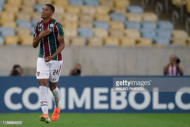 Marcos Paulo of Brazil's Fluminense celebrates with teammates after scoring against Uruguay's Penarol during a Copa Sudamericana football match at...