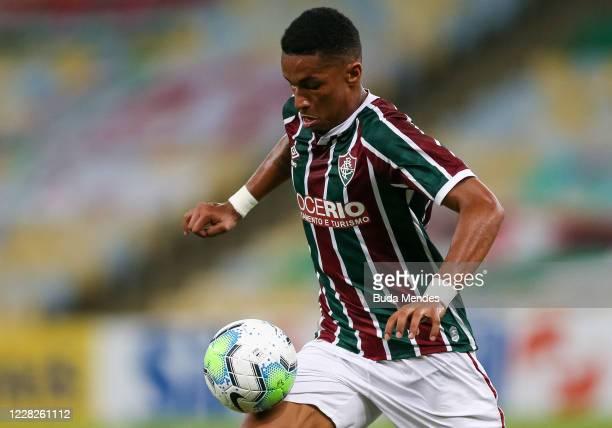Marcos Paulo of Fluminense controls the ball during a match between Fluminense and Vasco da Gama as part of 2020 Brasileirao Series A at Maracana...