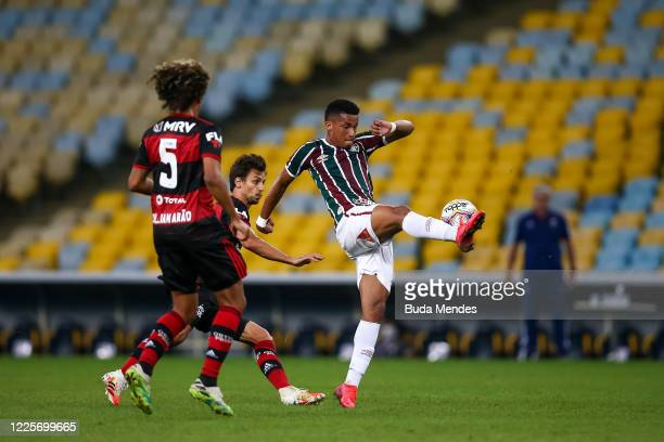 Marcos Paulo of Fluminense controls the ball during the match between Flamengo and Fluminense as part of the Taca Rio the Second Leg of the Carioca...