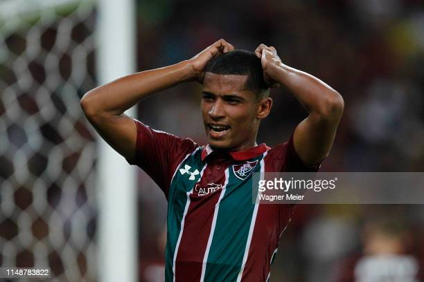 Marcos Paulo of Fluminense reacts during a match between Fluminense and Flamengo as part of the Brasileirao Series A championship at Maracana Stadium...