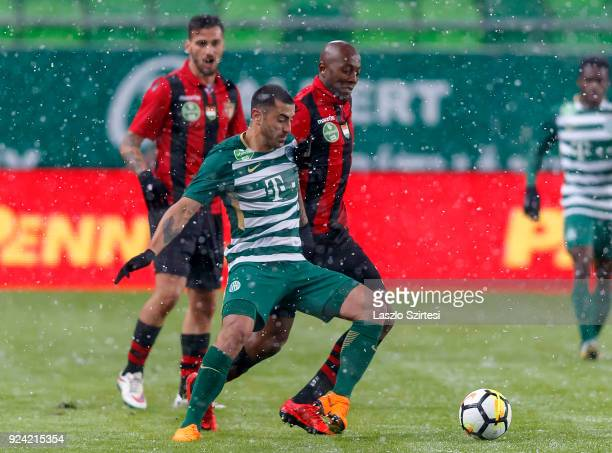 Marcos Pedroso of Ferencvarosi TC fights for the ball with Danilo Cirino de Oliveira 'Danilo' of Budapest Honved during the Hungarian OTP Bank Liga...
