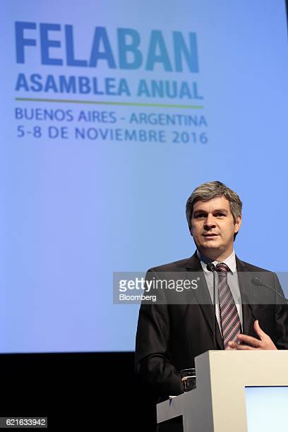 Marcos Pena chief of the Cabinet of Ministers of Argentina speaks during the 50th Anniversary Federation of Latin American Banks Annual Assembly in...