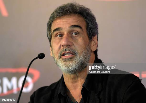 Marcos Prado speaks during the press conference for the new Netflix series O Mecanismo at the Belmond Copacabana Palace Hotel on March 15 2018 in Rio...