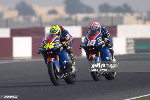 Marcos Ramirez of Spain and American Racing leads Joe Roberts of USA and American Racing during the Moto2 And Moto3 Tests In Doha - Day 3 at Losail...