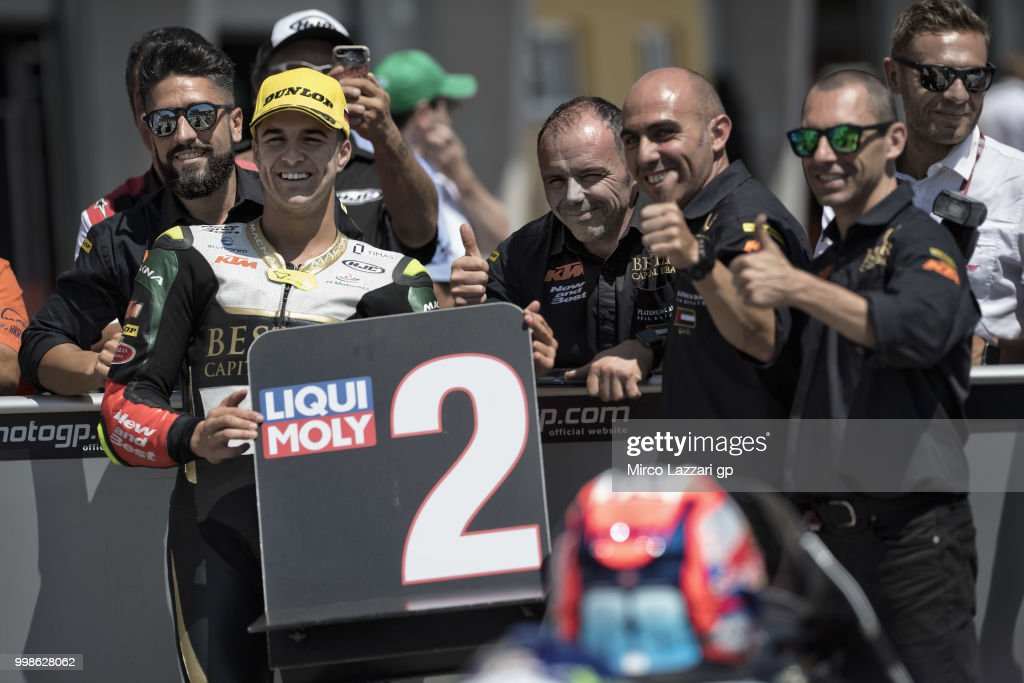 Marcos Ramirez of Spain and Bester Capital Dubai celebrates with team the second place at the end of the qualifying practice during the MotoGp of Germany - Qualifying at Sachsenring Circuit on July 14, 2018 in Hohenstein-Ernstthal, Germany.