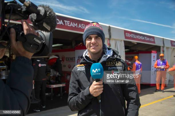 Marcos Ramirez of Spain and Bester Capital Dubai speaks with journalists in paddock during the MotoGP of Australia Previews during previews ahead of...