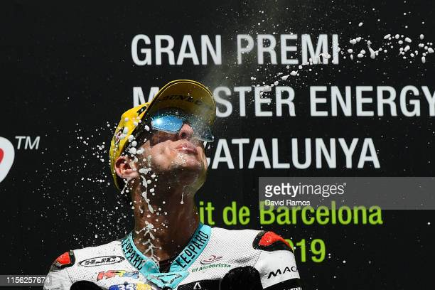 Marcos Ramirez of Spain and Leopard Racing celebrates on the podium after winning the Moto3 race during the MotoGP Gran Premi Monster Energy de...