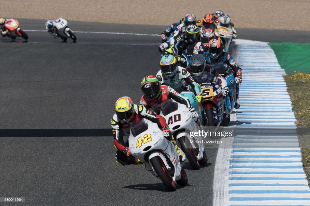 Marcos Ramirez of Spain and Platinum Bay Real Estate leads the fields during the Moto3 race during the MotoGp of Spain - Race at Circuito de Jerez on May 7, 2017 in Jerez de la Frontera, Spain.