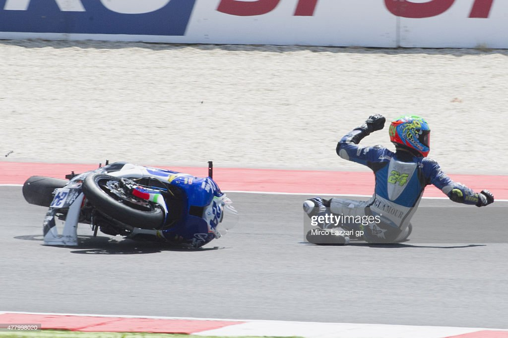 Marcos Ramirez of Spain and Team Lorini crashed out during the Supersport Race during the FIM Superbike World Championship - Race at Misano World Circuit on June 21, 2015 in Misano Adriatico, Italy.