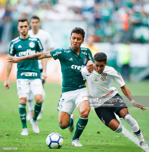Marcos Rocha of Palmeiras and Pedrinho of Corinthians in action during the match for the Brasileirao Series A 2018 at Allianz Parque Stadium on...