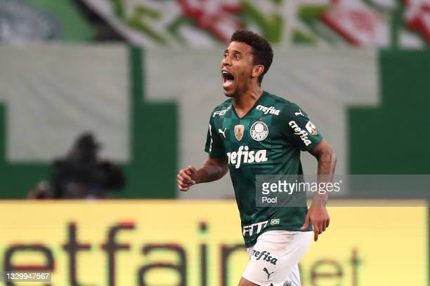 Marcos Rocha of Palmeiras celebrates after scoring the first goal of his team during a round of sixteen second leg match between Palmeiras and...