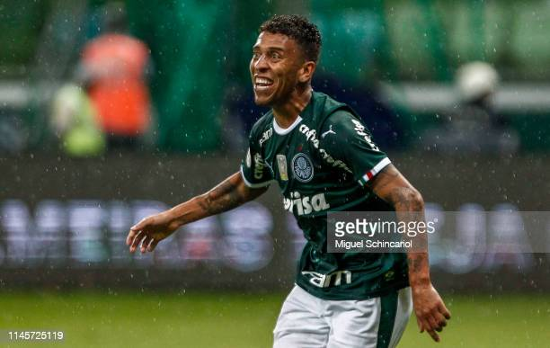 Marcos Rocha of Palmeiras celebrates after scoring the third goal of his team during a match between Palmeiras and Fortaleza at Allianz Parque on...