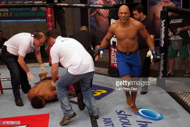 Marcos Rogerio De Lima celebrates after submitting Thiago Santos during their elimination fight for season three of The Ultimate Fighter Brazil on...
