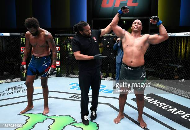 Marcos Rogerio de Lima of Brazil reacts after his victory over Maurice Greene in a heavyweight fight during the UFC Fight Night event at UFC APEX on...
