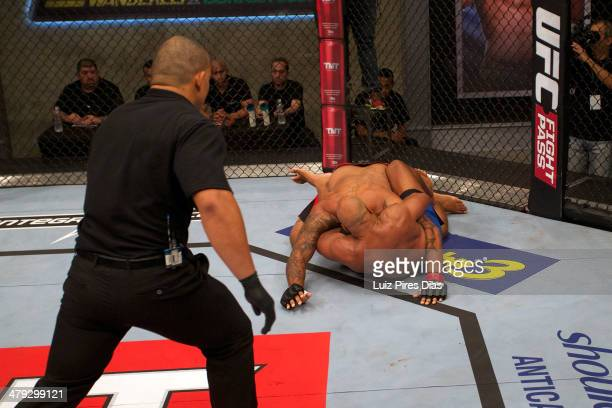 Marcos Rogerio De Lima submits Thiago Santos during their elimination fight for season three of The Ultimate Fighter Brazil on January 12, 2014 in...