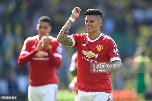 Marcos Roja of Manchester United celebrates his team's 10 win in the Barclays Premier League match between Norwich City and Manchester United at...