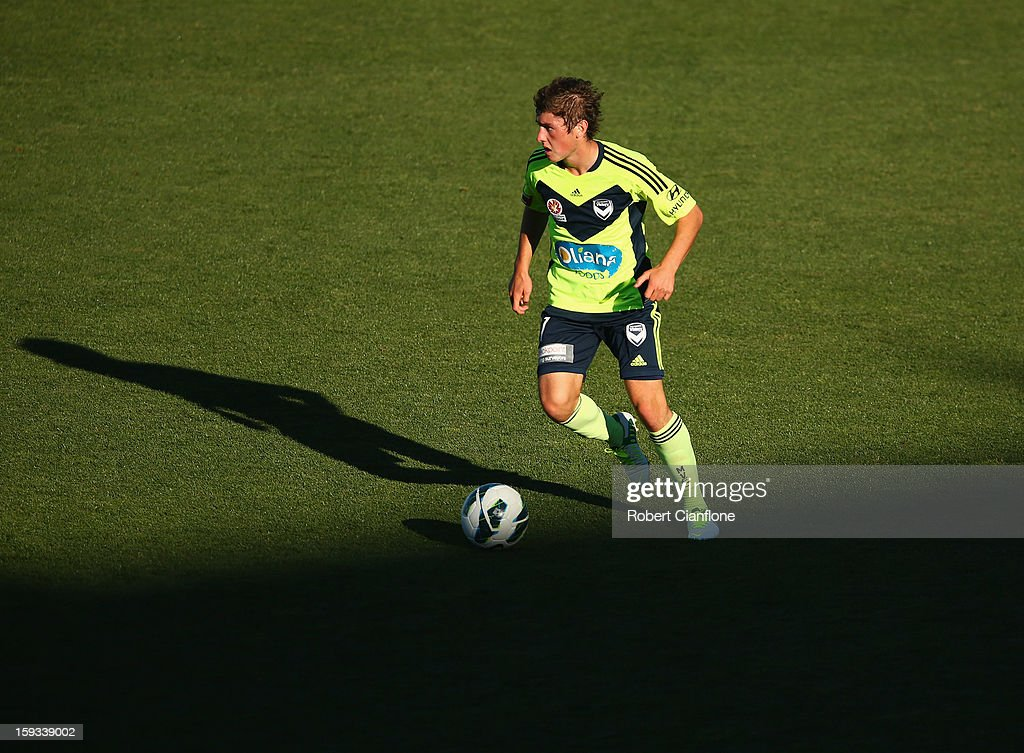 Marcos Rojas of the Victory controls the ball during the round 16 A-League match between the Melbourne Victory and the Central Coast Mariners at Aurora Stadium on January 12, 2013 in Launceston, Australia.