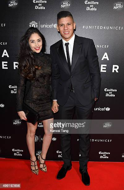 Marcos Rojo and Eugenia Lusardo attend the United for UNICEF Gala Dinner at Old Trafford on November 29 2015 in Manchester England