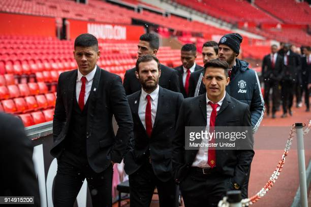 Marcos Rojo Juan Mata and Alexis Sanchez of Manchester United attend a service to commemorate the 60th anniversary of the Munich Air Disaster at Old...