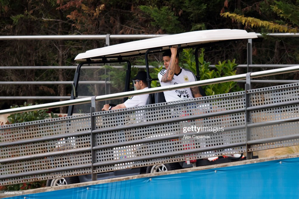 Marcos Rojo of Argentina arrives to a training session as part of the team preparation for FIFA World Cup Russia 2018 at FC Barcelona 'Joan Gamper' sports centre on June 7, 2018 in Barcelona, Spain.