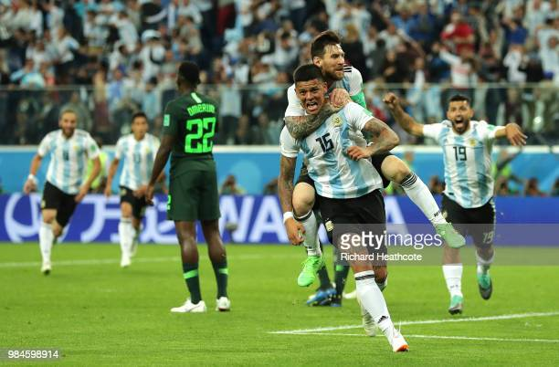 5c4bdd03a44 ... 2018 FIFA World Cup Russia group D match between Nigeria. Editorial use  only. Marcos Rojo of Argentina celebrates after scoring his team's second  goal ...